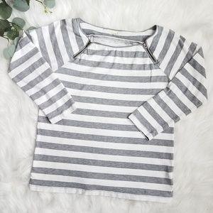 J CREW Vintage Cotton Stripe Shoulder-zip Tee M